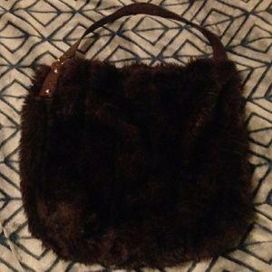 Large brown faux fur Bath&Body Works bag